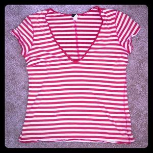 Free People Red & White Striped Vneck M